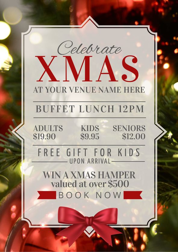 Use this Christmas Lunch promotional template for your event this year! Use this existing template or customise it as much as you like. Visit easil.com to get started!