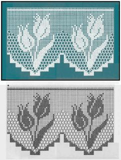 Hobby lavori femminili - ricamo - uncinetto - maglia: bordo filet con fiori