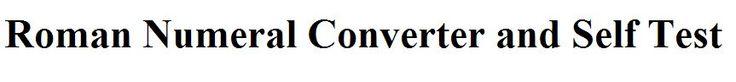 Roman Numeral Convertor