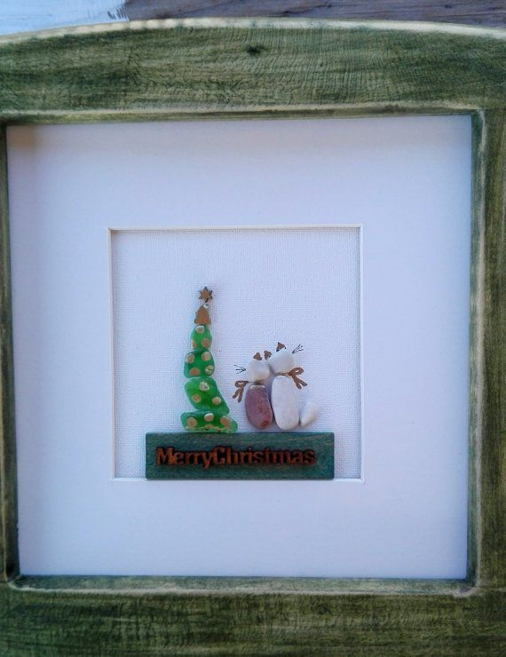 Pebble art Christmas, Christmas tree 2cats, Christmas tree wall art