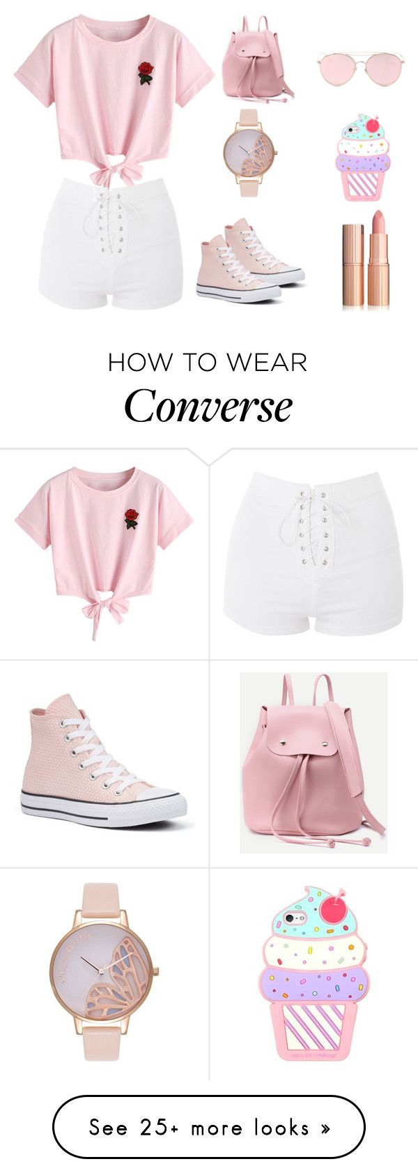"""lookbook"" by stylishnut98 on Polyvore featuring WithChic, Topshop, LMNT, Olivia Burton and Converse"