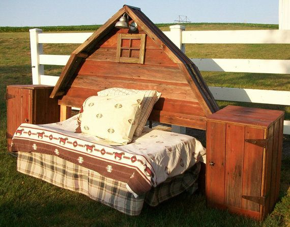 O.M.G. NO. WAY!!!!!!!!!   The Barn Bed by VictoryBarn on Etsy, $150.00.