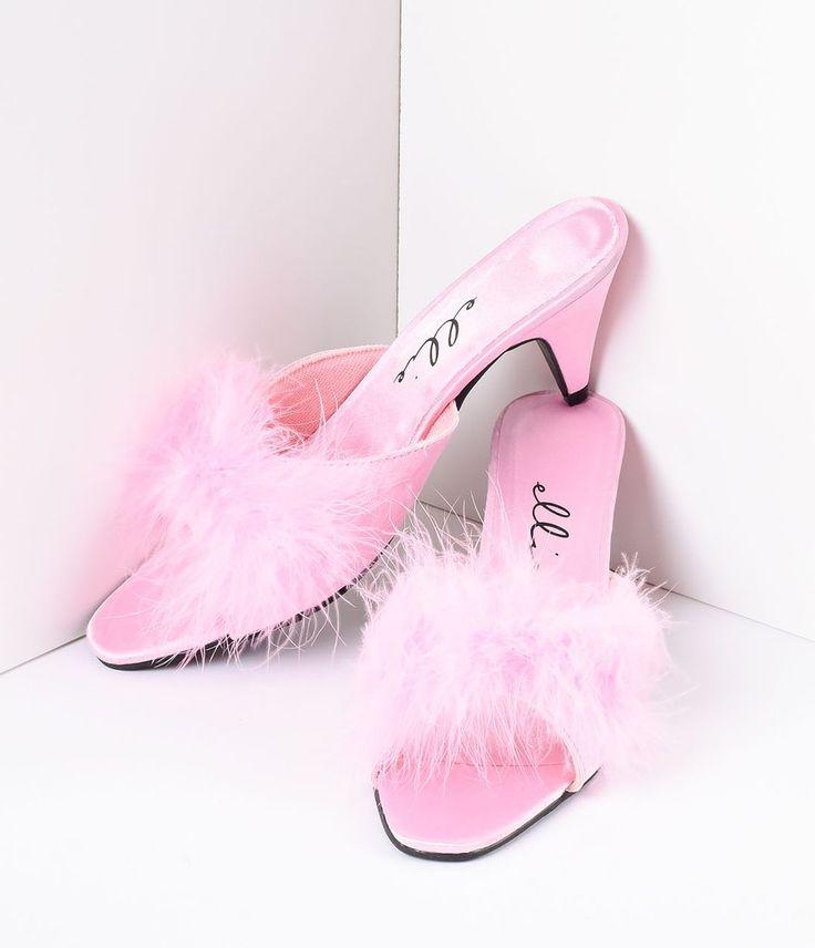 Pink Satin & Maribou Feather Phoebe Slip-On Heels