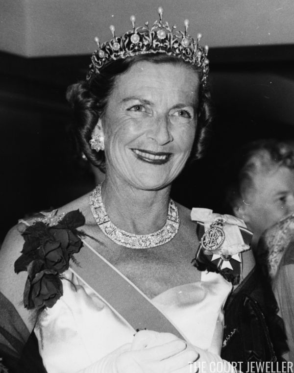 Edwina Mountbatten, Countess Mountbatten of Burma wears her pearl tiara (owned today by her daughter, Lady Pamela Hicks) at the Dominion Day dinnerat the Canadian Women's Club in London, 21 February 1950