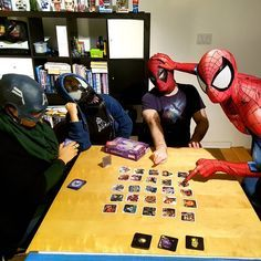 There's nothing better to do on a weekend than having a board game night with friends...or enemies! Playing Marvel Codenames can get very heated sometimes In my Mark Bagley Spider-Man suit. Suit made by @therpcstudio #spiderman #cosplay #marvel #marvelcomics #mcu #homecoming #spidermanhomecoming #spiderverse #avengers #theavengers #avengersinfinitywar #Nerdybrovas #tomholland #montreal #captainamerica #carnage #deadpool #codenames #gamenight