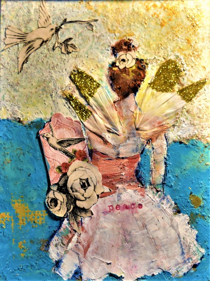 Mixed Media Whispers of Peace  Angel winged dancer with the promise of peace  SOLD