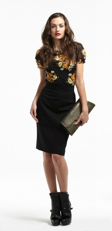 Statement jewels and accessories add sparkle to this Plum Mesh Top with Gathered Neckline and Tobias Pencil Skirt.