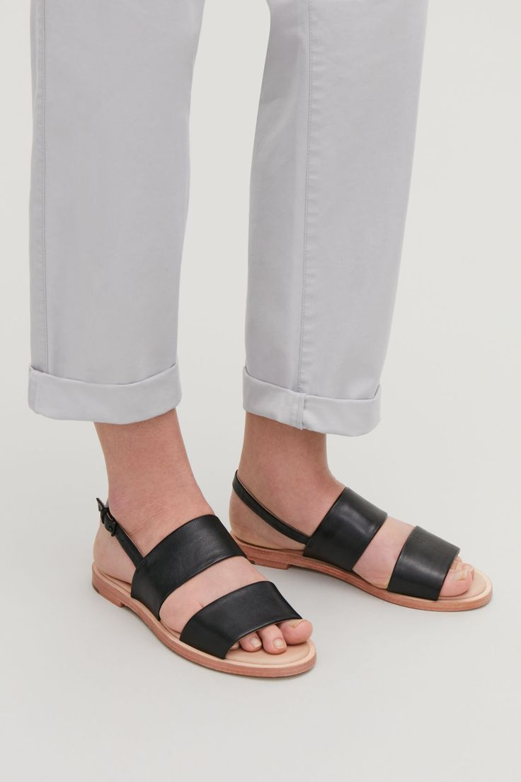 Detailed Image Of Cos Leather Strap Sandals In Black Leather Strap Sandals Heel Sandals Outfit Strap Sandals Outfit