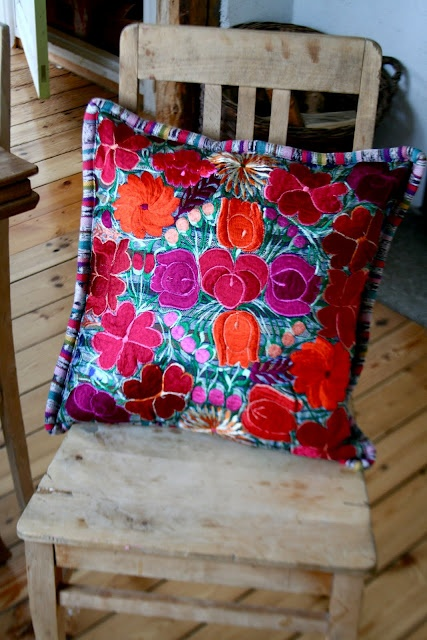 Mexican Embroidery Pillow - I just bought two similar ones in Guadalajara!