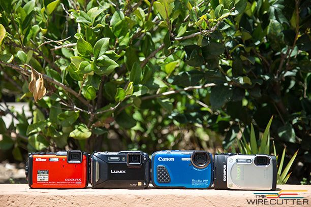 The original 2014 lineup: Nikon AW120, Panasonic TS5, Canon D30, and Olympus Tough TG-850.