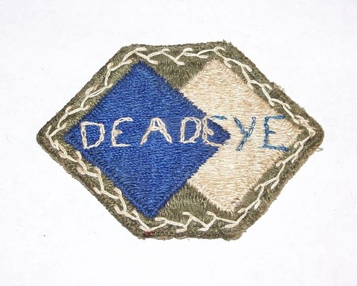 "ORIGINAL WW2 VET-ALTERED 96th INFANTRY DIVISION ""DEADEYE"" PATCH OFF UNIFORM!"