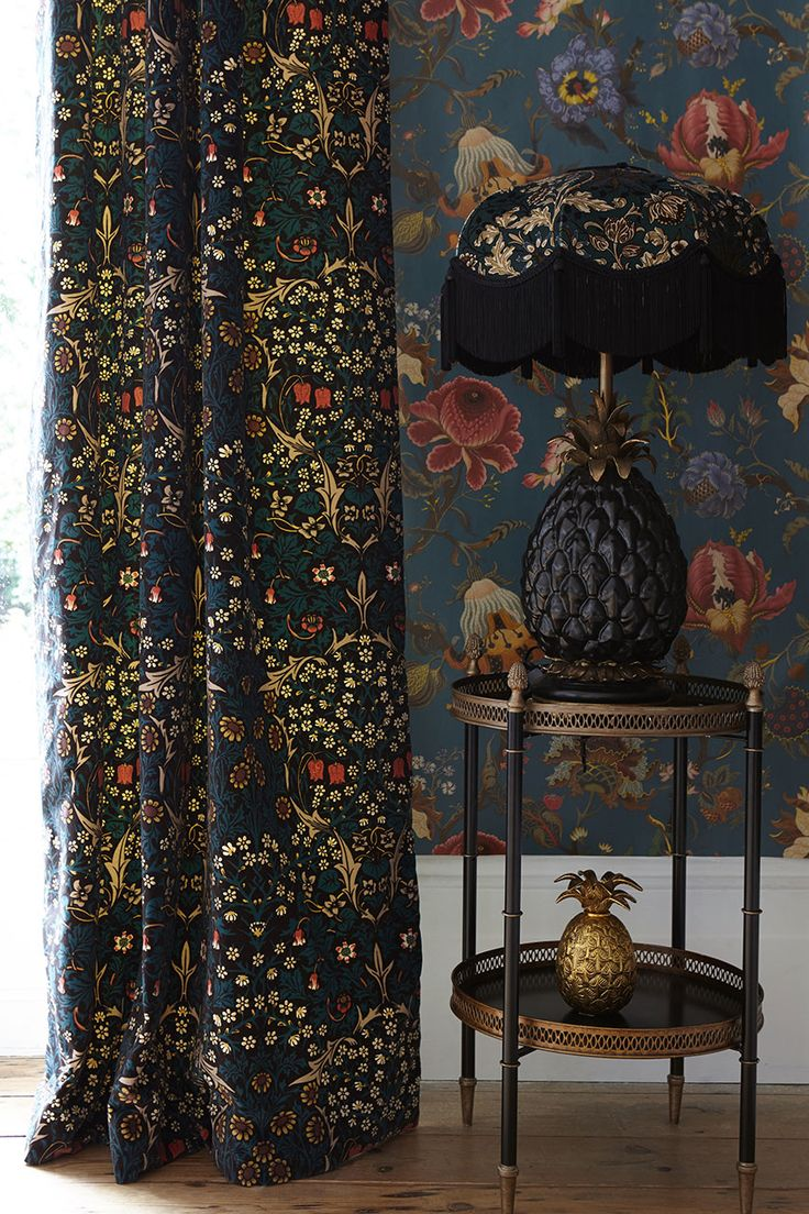 old fashioned vintage wallpaper and curtains