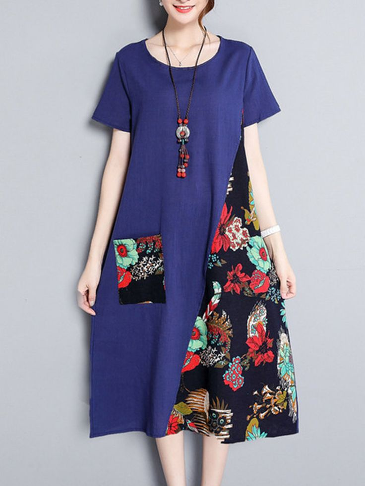 Women Patchwork Short Sleeve O-neck Vintage Dresses