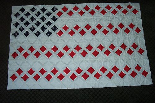 Cathedral Window Quilt  US Flag by dasbat, via Flickr