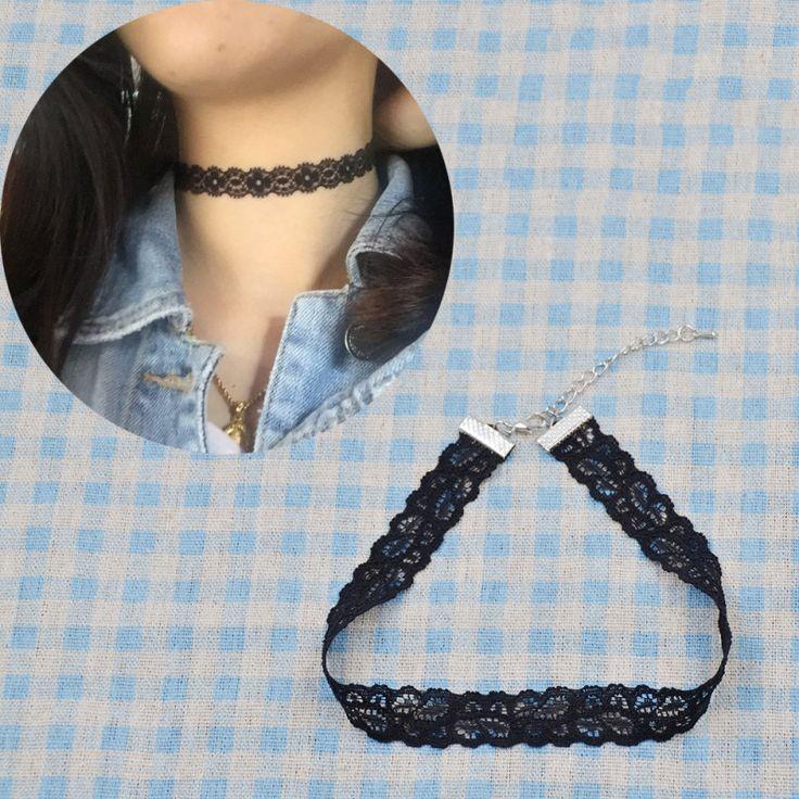 Black Elastic Lace Choker Necklace Vintage Elegant Gothic Princess Punk Collar Neck Jewelry