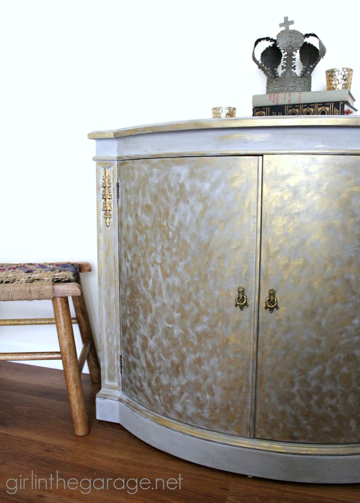 Gold And Gray Cabinet {Metallic Themed Furniture Makeover}