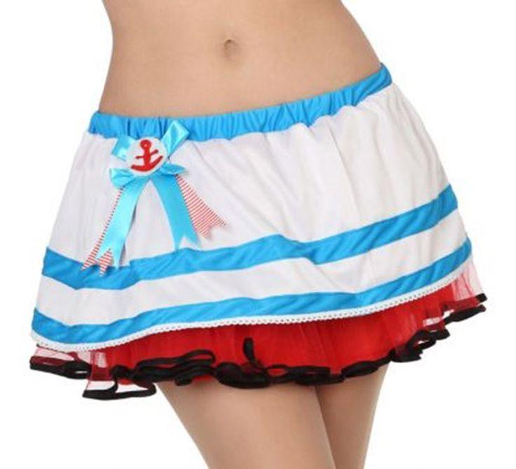 #Falda #marinera con tul para mujer en varias tallas. Complemento ideal para nuestros #disfraces de #marina, #marinera o #grumete. Perfecto para #despedidadesoltera y #fiestas marineras.
