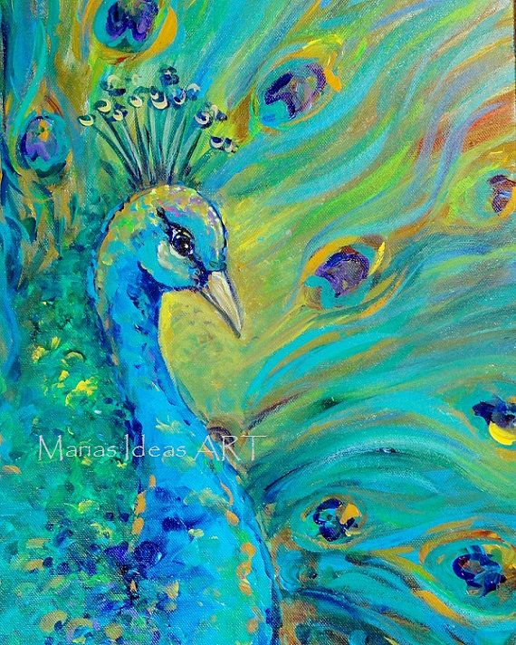 Peacock art, Bird print, 8x10 peacock painting, Bird art, Signed Print on canvas, proud peacock