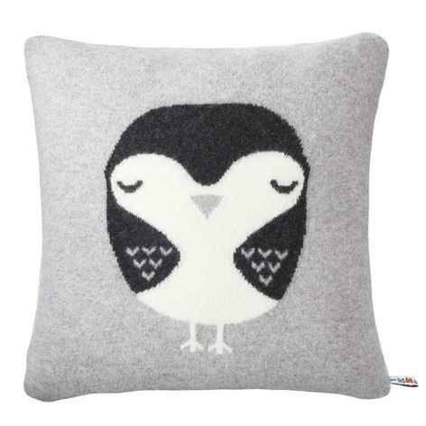 Robin cushion, grey with ebony bird
