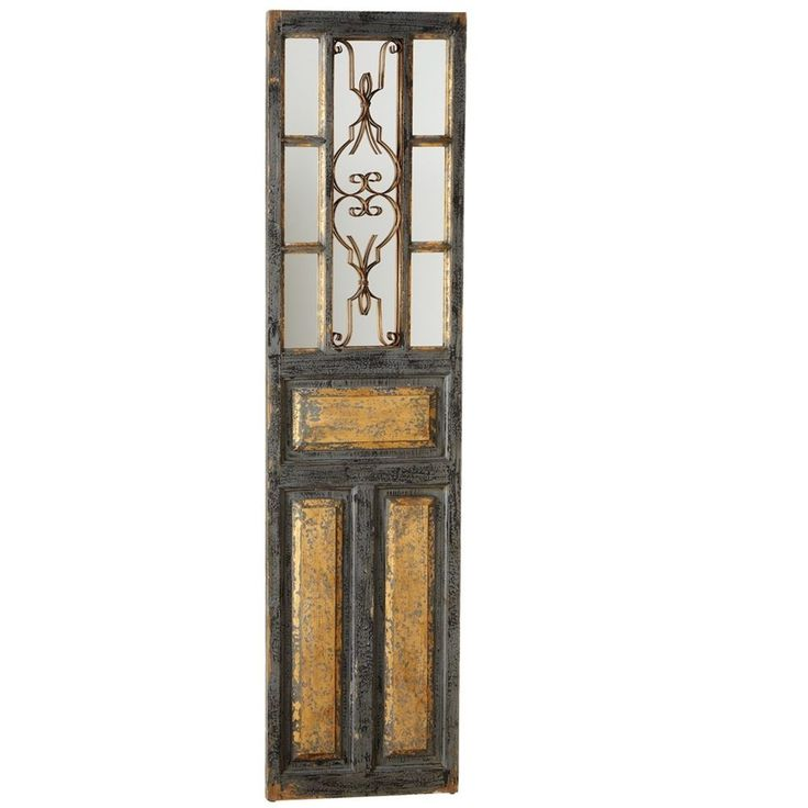 Decorative Distressed Black Wood  Door Panel/Mirror Wall Sculpture 70''H. #Unbranded #Farmhouse