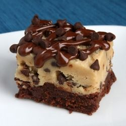 A fudgy brownie with a thick layer of cookie dough stacked on top (Eggless, of course!)