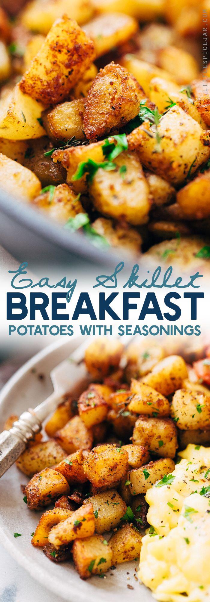 Easy Skillet Breakfast Potatoes - lightly crispy on the outside, tender on the inside. These breakfast potatoes are sure to be a hit! #skilletpotatoes #breakfastpotatoes #crispypotatoes   Littlespicejar.com
