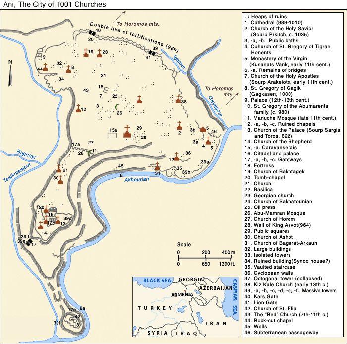Carte de la région du site abandonné de la ville d'Ani - Turquie  ---- Ani (en arménien Անի) est située dans la province turque de Kars, juste au sud de la frontière arménienne. Elle se trouve près de la ville d'Ocaklı et de l'Akhourian, un affluent de l'Araxe, qui forme la frontière entre l'Arménie et la Turquie. Aujourd'hui en ruine, la ville fut la capitale de l'Arménie vers l'an mille, et elle est d'ailleurs surnommée « Capitale de l'an mille » et la « ville aux mille et une églises ».