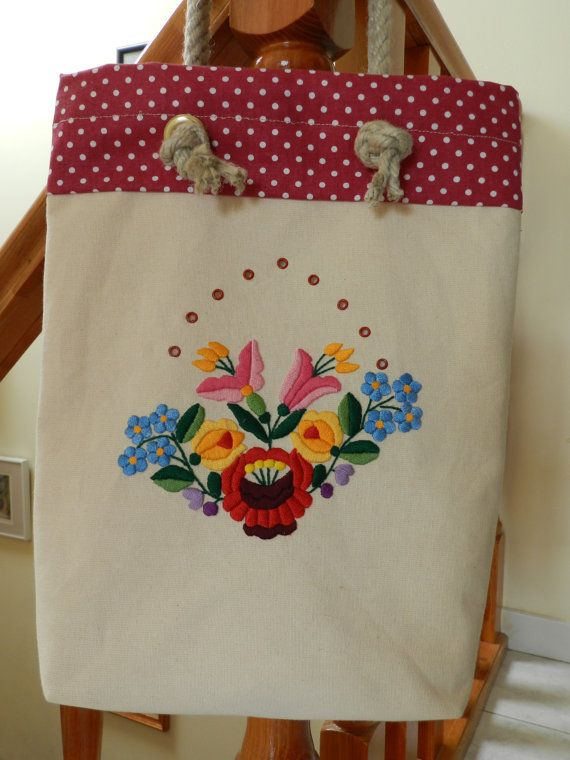 Tote bag with Kalocsa embroidery Kalocsai by Hungarianhouse