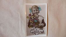 50-х годов винтажный Советского Русский открытка / девочка в школе uniform/happy день рождения