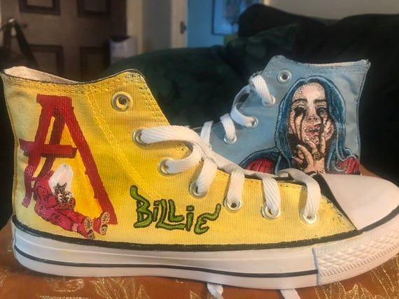 Billie Eilish Custom Hand Painted Hi Tops Shoes | Hype shoes ...