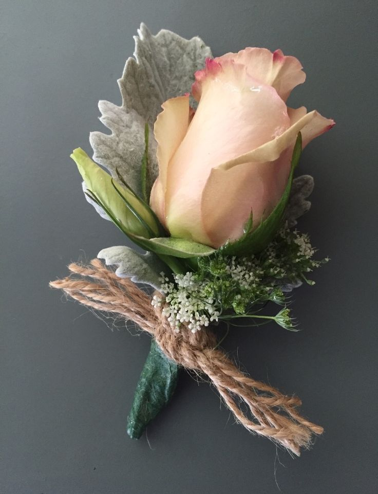 Blush, peach and white wedding boutonniere. Rustic and vintage for the fellas! Serving the SoCal area.  See more here: http://snowberrystudio.com