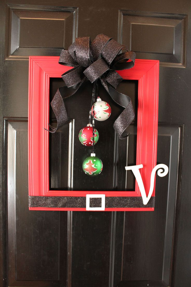 From another pinner: Santa Frame I made for my Stepmom in-law.  Thrifted Frame ($3), Ribbon, Sequin ribbon to hang the plastic ornaments ($4), Wood Letter $1, Spray paint and steel wool to distress.  About $10 to make.