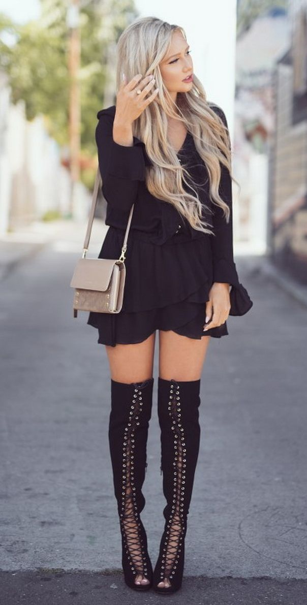 Laced Up black little dress @roressclothes closet ideas #women fashion outfit #clothing style apparel