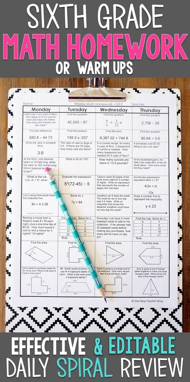 6th Grade Math Spiral Review & Quizzes 6th Grade Math