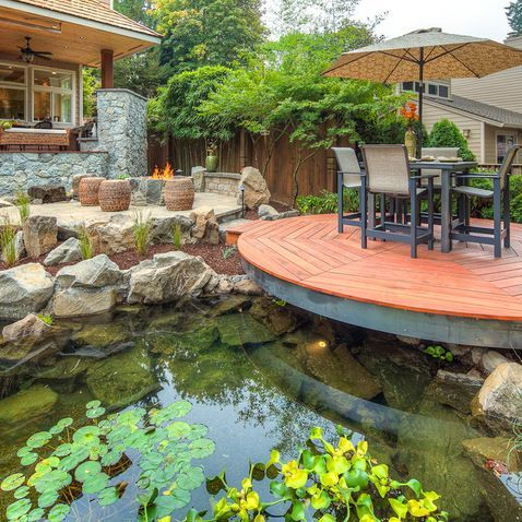 17 best images about outside deck on pinterest patio for Garden decking with pond