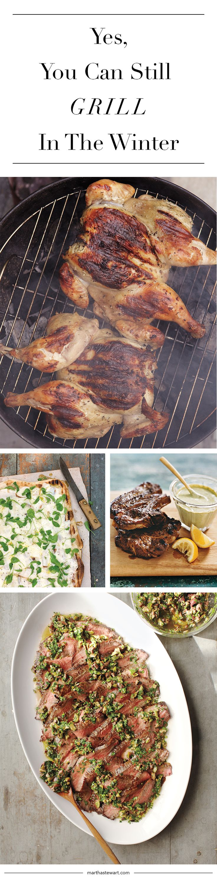 Take your grill out of hibernation and brighten your winter-dinner lineup with these grilled dishes. Living's editorial director of Food and Entertaining, Jennifer Aaronson, shares her go-to recipes and some cold-weather grilling advice.
