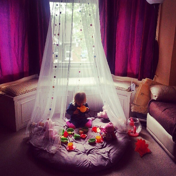 Giant Floor Pillows Pinterest : Quick princess castle idea for little girls. Large floor pillow and mosquito net with design # ...