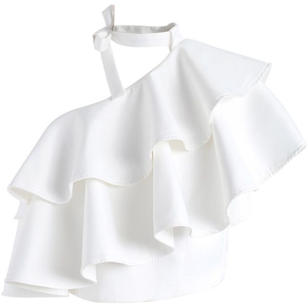 Chicwish Ritzy One-shoulder Ruffled Crop Top in White ($44) ❤ liked on Polyvore featuring tops, white, cut-out crop tops, off one shoulder tops, ruffle crop top, flutter crop top and flutter-sleeve tops