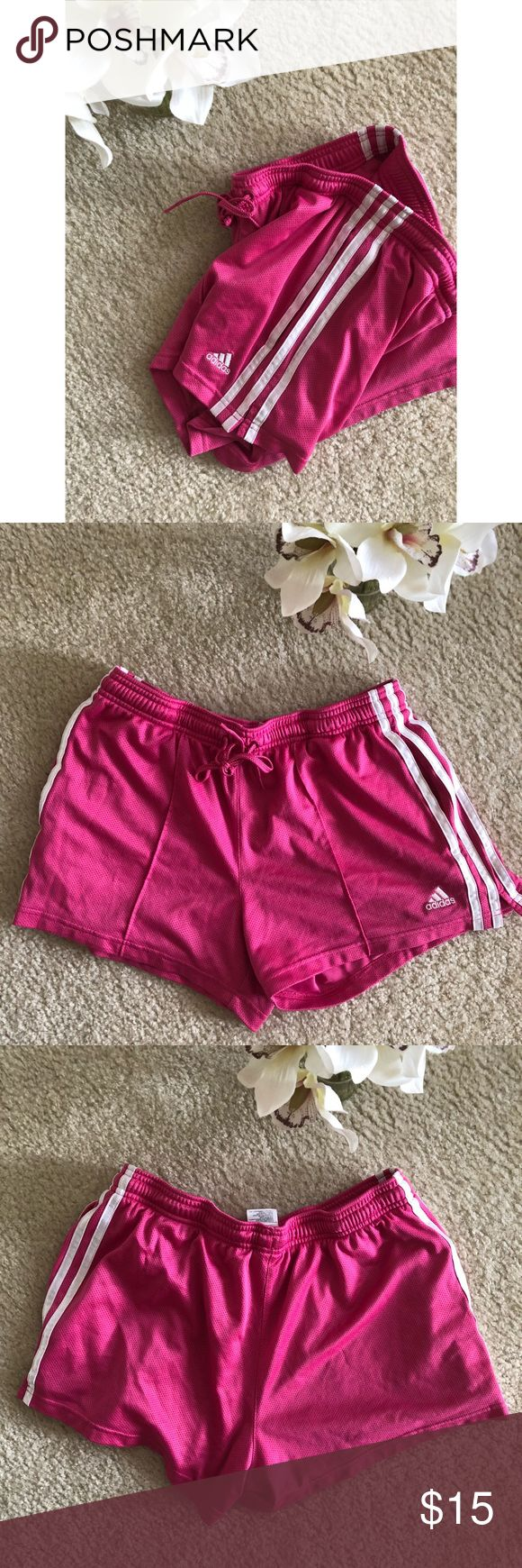 Pink Adidas Soccer Shorts ♀️ Pink Adidas Soccer Shorts in pre loved condition. Very stylish and an in demand brand! Great workout piece to add to your wardrobe! ✨ adidas Shorts #soccerworkouts
