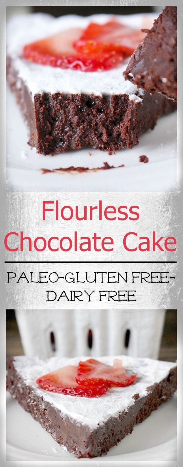 Paleo Flourless Chocolate Cake- 7 ingredients and 30 minutes is all it takes for this delicious cake! Gluten free, dairy free, and refined sugar free.
