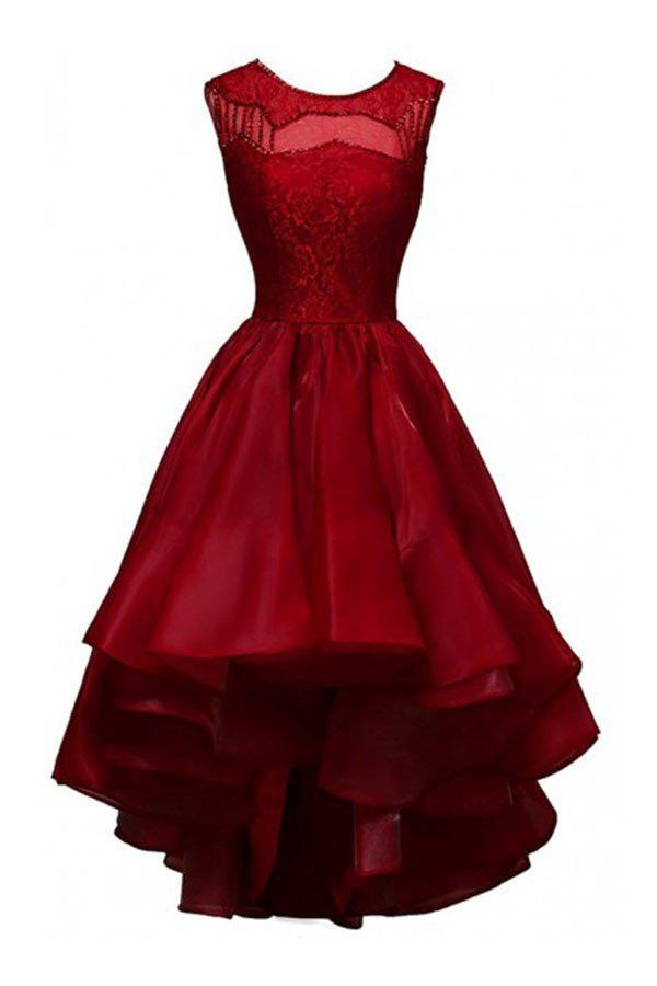 High-low Organza Beading Prom Dresses Evening Gowns Party Dresses PG303