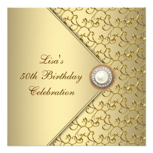 52 best 50th birthday gifts and party invites images on pinterest gold pearl womans 50th birthday party personalized invitation filmwisefo Choice Image