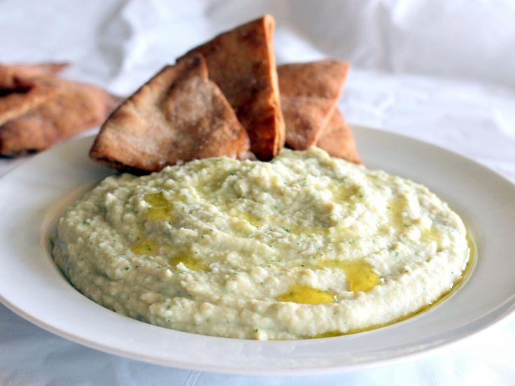 Garlic White Bean Basil Hummus + Homemade Toasted Pita Chips   Ambitious Kitchen