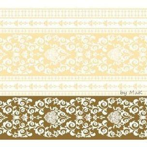 PASCAL GOLD  - luxusné svadobné servítky z netkanej textílie, ornament, zlatá, krémová rozmer 40x40