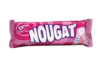 Pink and White Nougat is a classic sweet; this chewy sweet comes in a dual flavour of vanilla as raspberry, both as nice as each other.  These Barratt bars have now been re-branded as Candyland.