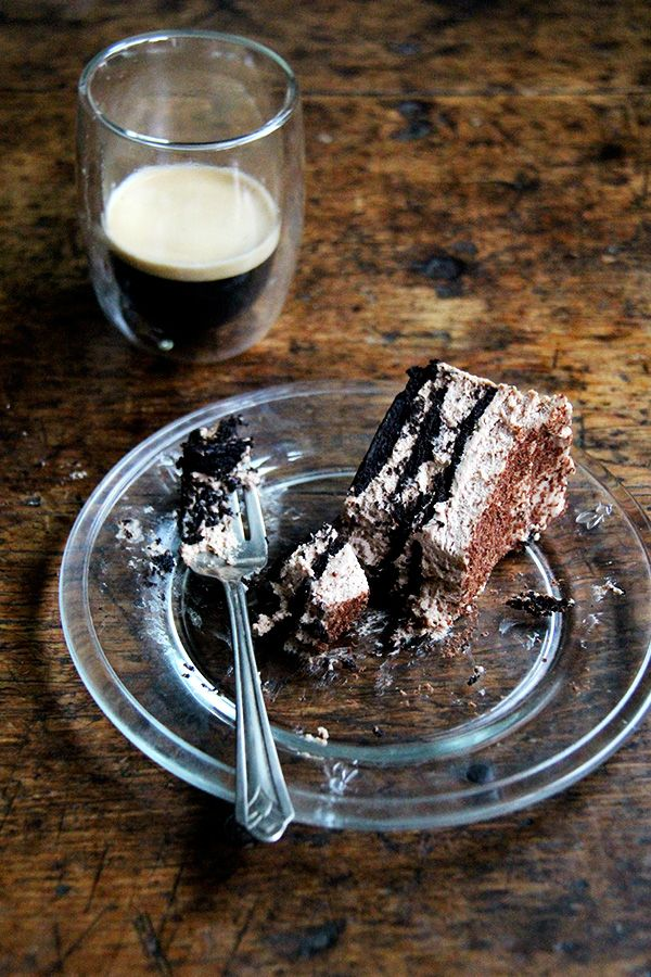 This chocolate-espresso icebox cake takes all of 20 minutes to throw together, will receive rave reviews from your guests, and you will find too irresistible, impossible, in fact, not to sneak a little spoonful of every time you open the fridge.