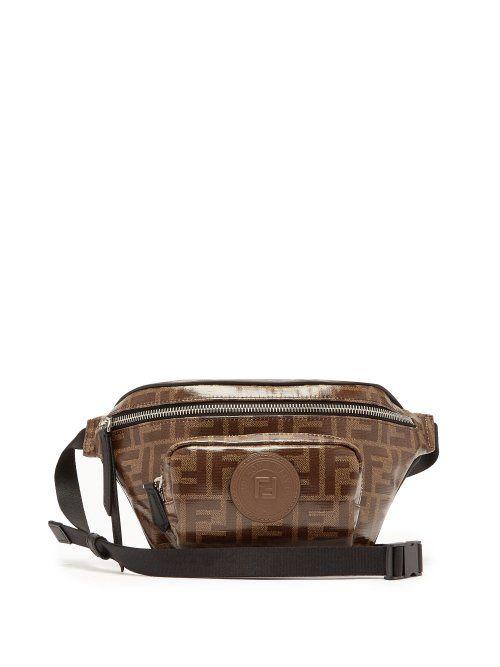 eb28875e4dd FENDI FENDI - FF LOGO JACQUARD CANVAS BELT BAG - MENS - BROWN.  fendi  bags   belt bags  canvas