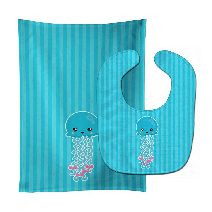 Nautical Blue Jellyfish Baby Bib & Burp Cloth BB8908STBU