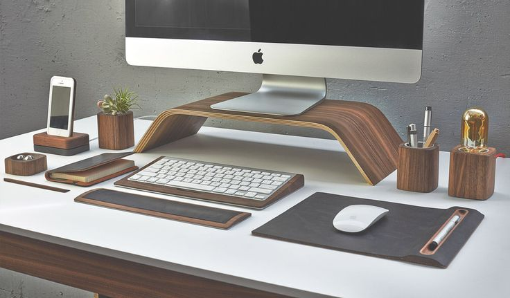 Desk Collection in Walnut with Bent Plywood Monitor Stand