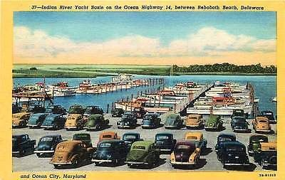 Rehoboth Beach Delaware DE 1947 Indian River Yacht Basin Vintage Linen Postcard